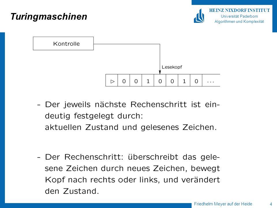 Friedhelm Meyer auf der Heide 4 HEINZ NIXDORF INSTITUT Universität Paderborn Algorithmen und Komplexität Turingmaschinen