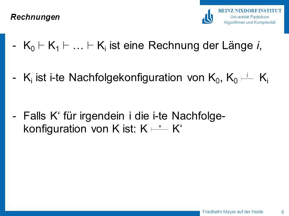 Friedhelm Meyer auf der Heide 8 HEINZ NIXDORF INSTITUT Universität Paderborn Algorithmen und Komplexität Rechnungen -K 0 ` K 1 ` … ` K i ist eine Rechnung der Länge i, -K i ist i-te Nachfolgekonfiguration von K 0, K 0 K i -Falls K für irgendein i die i-te Nachfolge- konfiguration von K ist: K K
