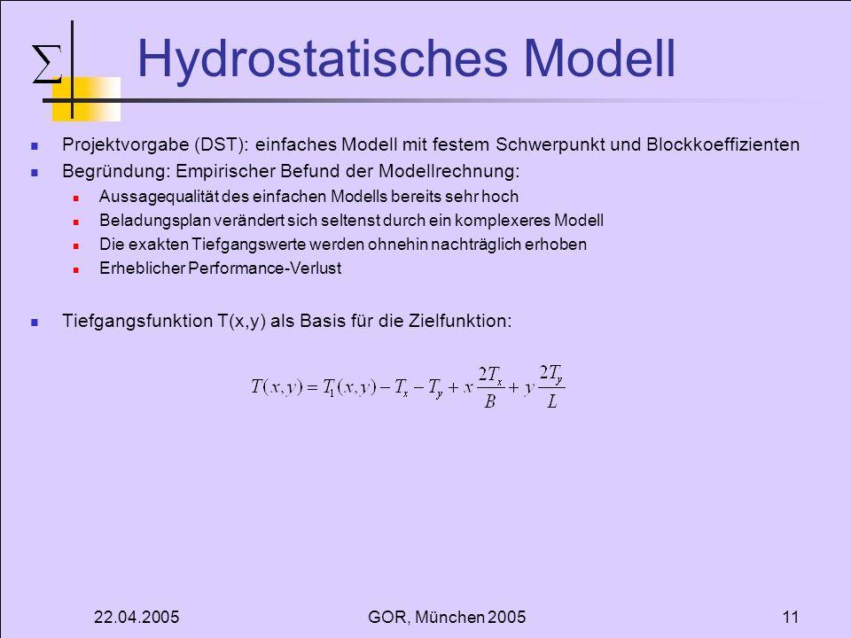 22.04.2005GOR, München 200511 Hydrostatisches Modell Projektvorgabe (DST): einfaches Modell mit festem Schwerpunkt und Blockkoeffizienten Begründung: Empirischer Befund der Modellrechnung: Aussagequalität des einfachen Modells bereits sehr hoch Beladungsplan verändert sich seltenst durch ein komplexeres Modell Die exakten Tiefgangswerte werden ohnehin nachträglich erhoben Erheblicher Performance-Verlust Tiefgangsfunktion T(x,y) als Basis für die Zielfunktion: