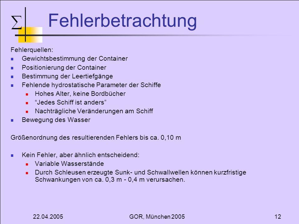 22.04.2005GOR, München 200512 Fehlerbetrachtung Fehlerquellen: Gewichtsbestimmung der Container Positionierung der Container Bestimmung der Leertiefgä