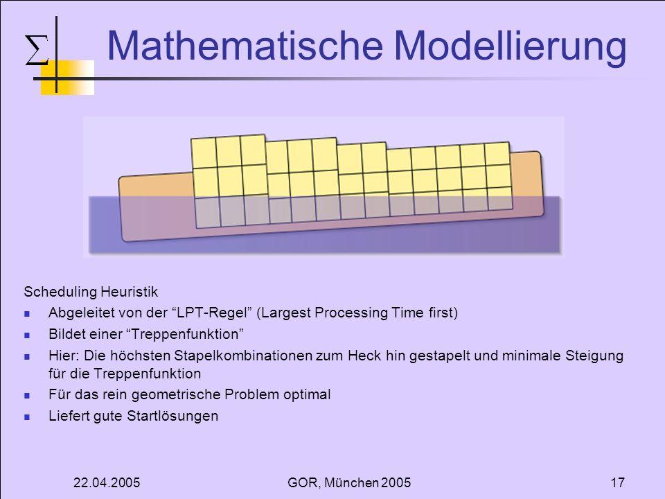 22.04.2005GOR, München 200517 Mathematische Modellierung Scheduling Heuristik Abgeleitet von der LPT-Regel (Largest Processing Time first) Bildet eine