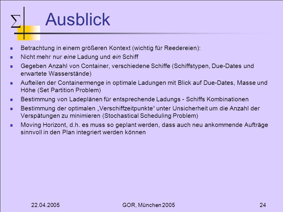 22.04.2005GOR, München 200524 Ausblick Betrachtung in einem größeren Kontext (wichtig für Reedereien): Nicht mehr nur eine Ladung und ein Schiff Gegeb