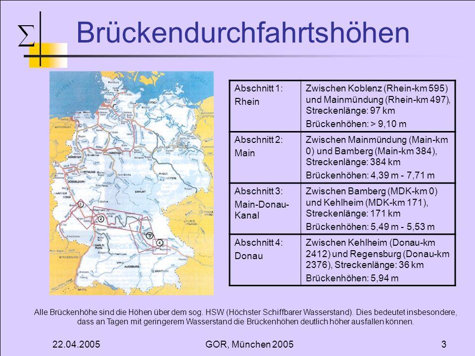 22.04.2005GOR, München 20053 Brückendurchfahrtshöhen Abschnitt 1: Rhein Zwischen Koblenz (Rhein-km 595) und Mainmündung (Rhein-km 497), Streckenlänge: 97 km Brückenhöhen: > 9,10 m Abschnitt 2: Main Zwischen Mainmündung (Main-km 0) und Bamberg (Main-km 384), Streckenlänge: 384 km Brückenhöhen: 4,39 m - 7,71 m Abschnitt 3: Main-Donau- Kanal Zwischen Bamberg (MDK-km 0) und Kehlheim (MDK-km 171), Streckenlänge: 171 km Brückenhöhen: 5,49 m - 5,53 m Abschnitt 4: Donau Zwischen Kehlheim (Donau-km 2412) und Regensburg (Donau-km 2376), Streckenlänge: 36 km Brückenhöhen: 5,94 m Alle Brückenhöhe sind die Höhen über dem sog.