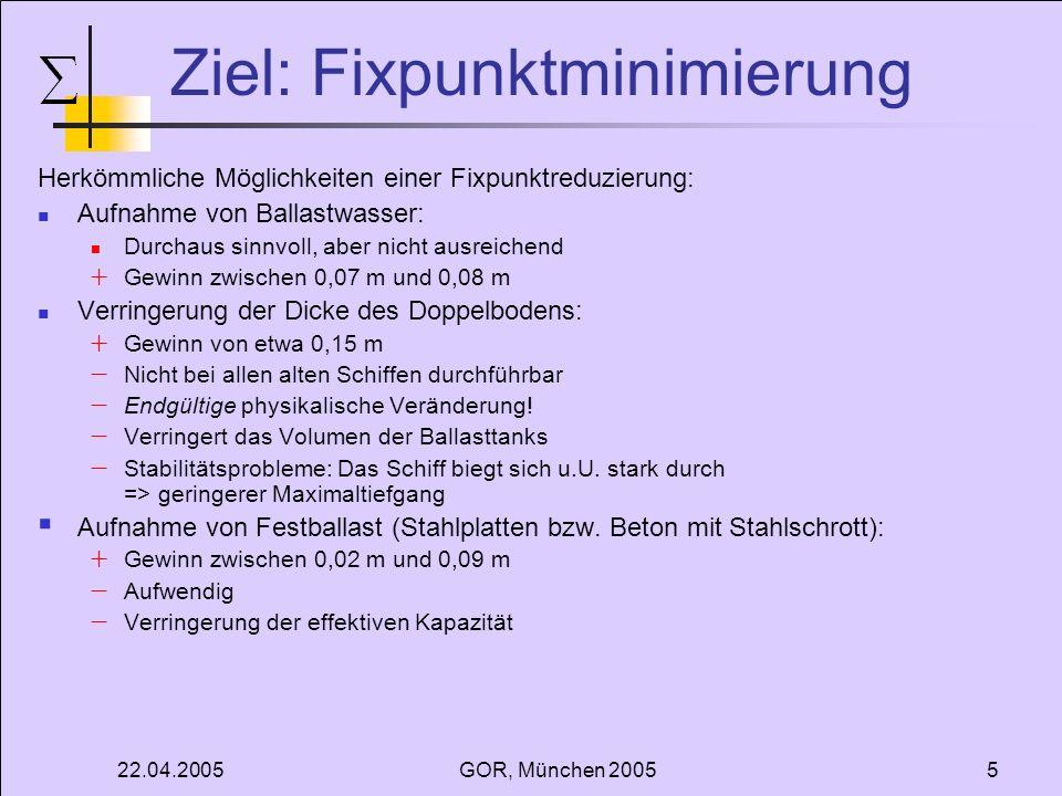 22.04.2005GOR, München 20056 Mathematischer Ansatz Gegeben: Binnenschiff Ladung Verschiedene Gewichte (2,0 t - 25,0 t) Verschiedene Containerhöhen (8,0 ft - 10,0 ft in 0,5 ft Schritten) Doppelt lange Container Containeranzahl c max = 156 Freiheitsgrade: Beladungsplan Randbedingungen: Berücksichtigung der Schiffslage Ziel: Bestimmung eines Beladungsplan mit minimaler Fixpunkthöhe