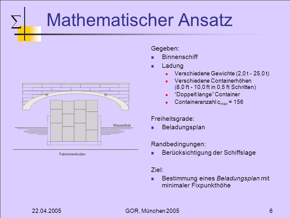 22.04.2005GOR, München 20056 Mathematischer Ansatz Gegeben: Binnenschiff Ladung Verschiedene Gewichte (2,0 t - 25,0 t) Verschiedene Containerhöhen (8,
