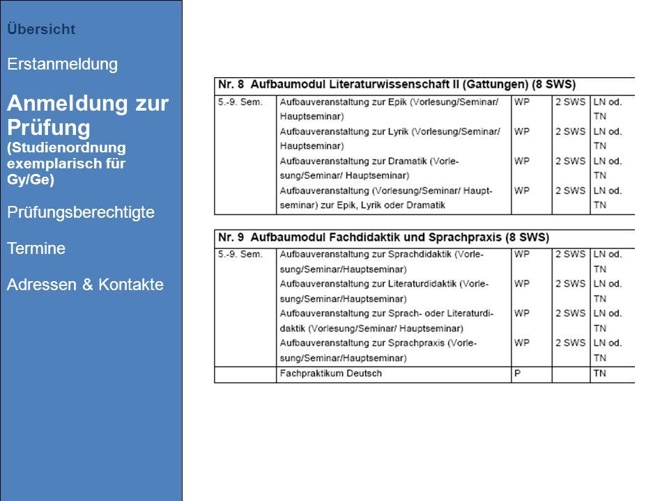 Übersicht Erstanmeldung Anmeldung zur Prüfung (Studienordnung exemplarisch für Gy/Ge) Prüfungsberechtigte Termine Adressen & Kontakte