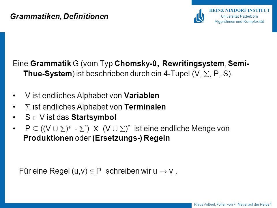 Klaus Volbert, Folien von F. Meyer auf der Heide 1 HEINZ NIXDORF INSTITUT Universität Paderborn Algorithmen und Komplexität Grammatiken, Definitionen