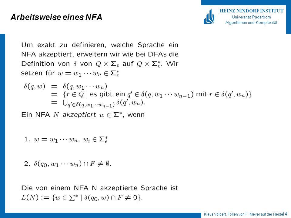 Klaus Volbert, Folien von F. Meyer auf der Heide 14 HEINZ NIXDORF INSTITUT Universität Paderborn Algorithmen und Komplexität Arbeitsweise eines NFA