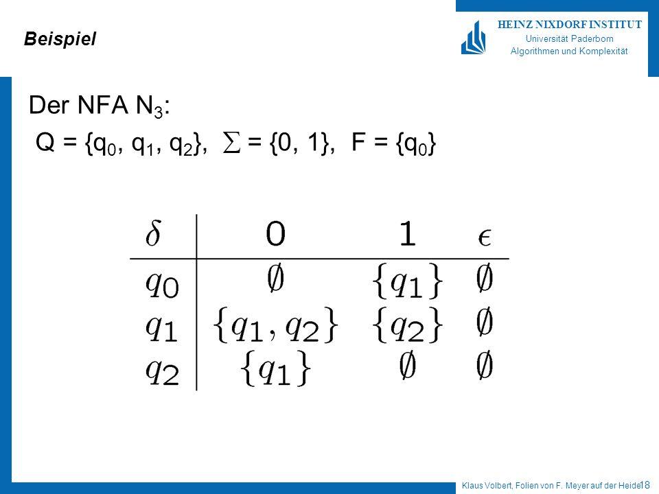 Klaus Volbert, Folien von F. Meyer auf der Heide 18 HEINZ NIXDORF INSTITUT Universität Paderborn Algorithmen und Komplexität Beispiel Der NFA N 3 : Q