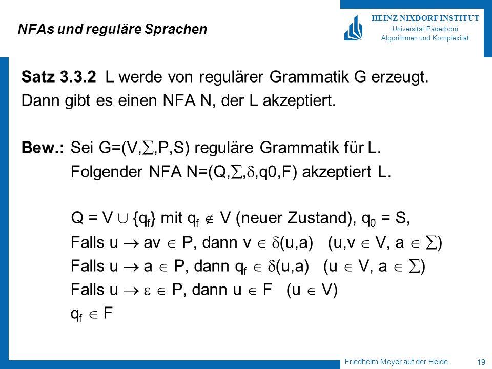 Friedhelm Meyer auf der Heide 19 HEINZ NIXDORF INSTITUT Universität Paderborn Algorithmen und Komplexität NFAs und reguläre Sprachen Satz 3.3.2 L werd