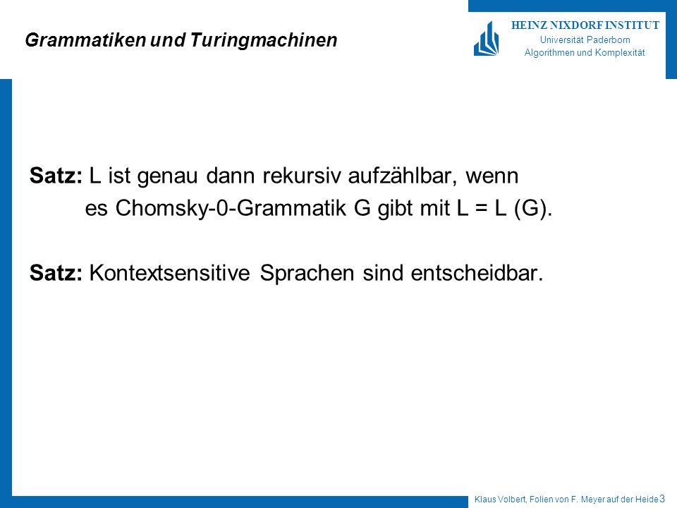 Klaus Volbert, Folien von F. Meyer auf der Heide 3 HEINZ NIXDORF INSTITUT Universität Paderborn Algorithmen und Komplexität Grammatiken und Turingmach