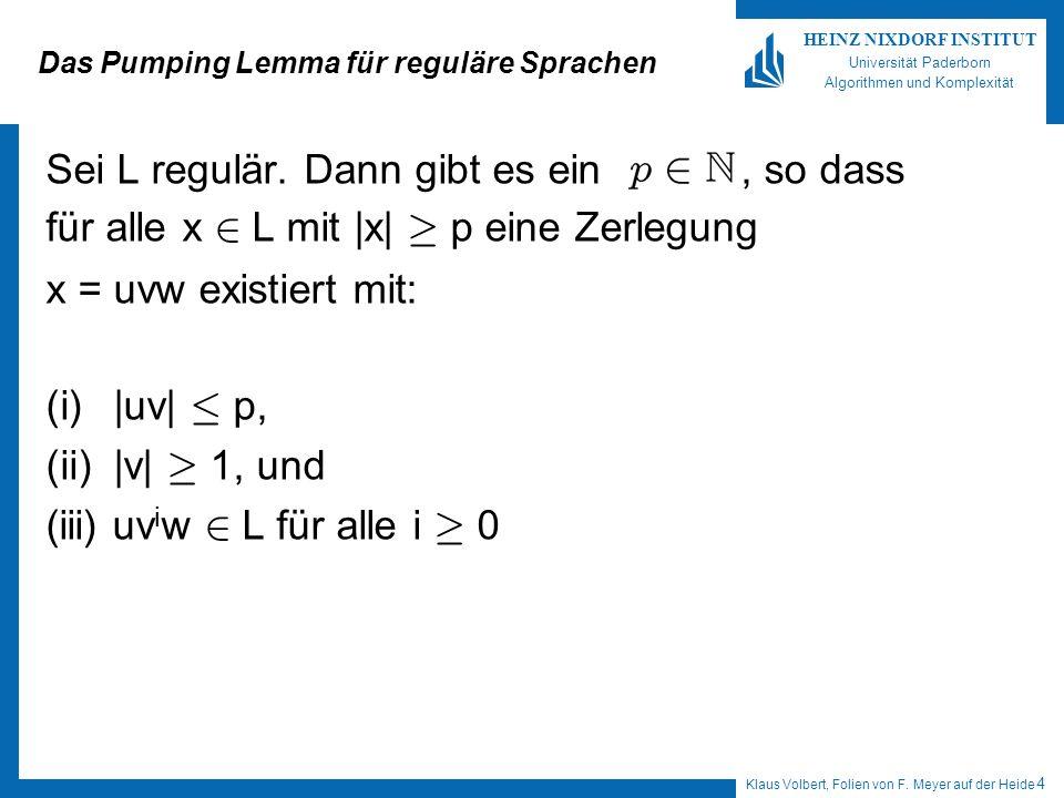 Klaus Volbert, Folien von F. Meyer auf der Heide 4 HEINZ NIXDORF INSTITUT Universität Paderborn Algorithmen und Komplexität Das Pumping Lemma für regu