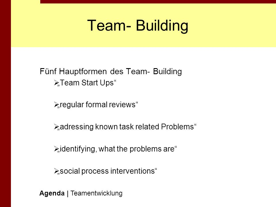 Team- Building Fünf Hauptformen des Team- Building Team Start Ups regular formal reviews adressing known task related Problems identifying, what the p