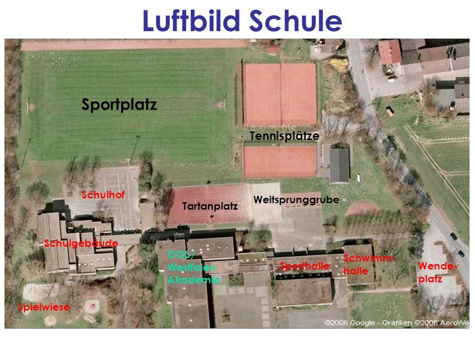 Sportplatz Schulhof Schulgebäude Spielwiese Tartanplatz Weitsprunggrube OGS/ Westfalen Akademie Sporthalle Schwimm- halle Tennisplätze Wende- platz Lu