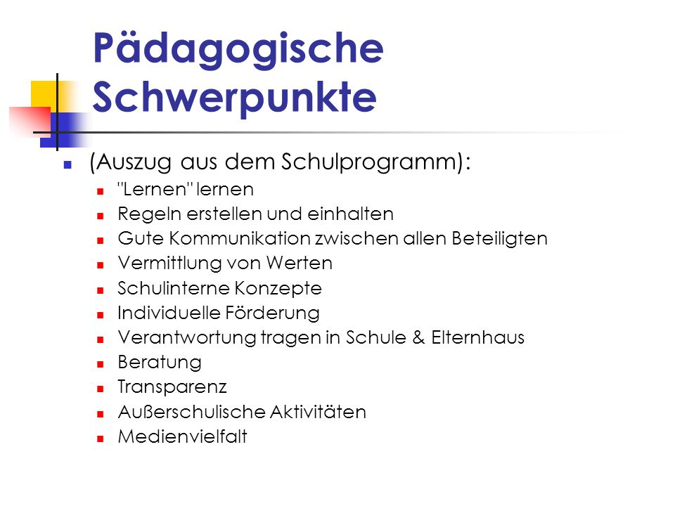 Pädagogische Schwerpunkte (Auszug aus dem Schulprogramm):