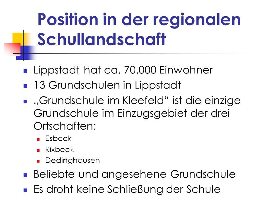 Position in der regionalen Schullandschaft Lippstadt hat ca. 70.000 Einwohner 13 Grundschulen in Lippstadt Grundschule im Kleefeld ist die einzige Gru