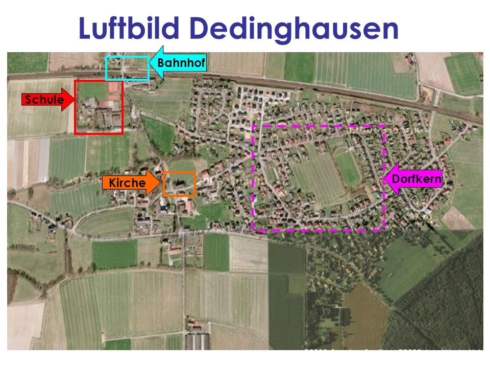 Luftbild Dedinghausen Schule Kirche Bahnhof Dorfkern