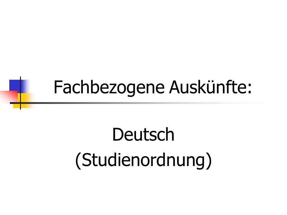 Fachbezogene Auskünfte: Deutsch (Studienordnung)