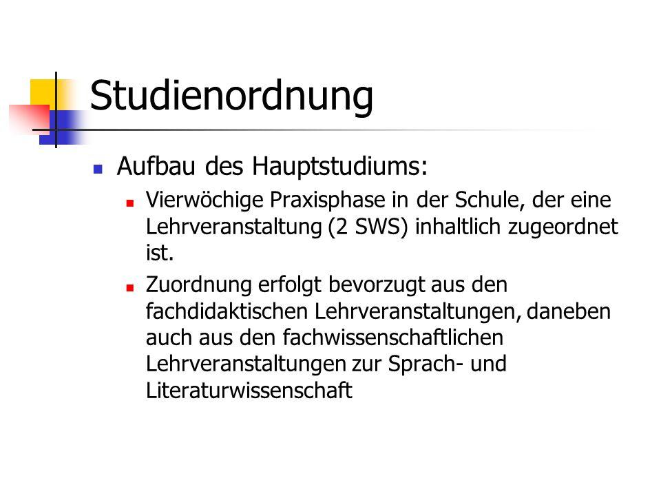 Studienordnung Aufbau des Hauptstudiums: Vierwöchige Praxisphase in der Schule, der eine Lehrveranstaltung (2 SWS) inhaltlich zugeordnet ist. Zuordnun