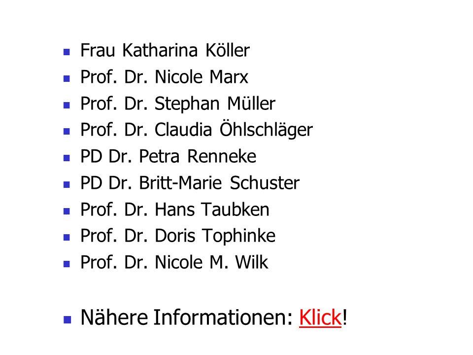 Frau Katharina Köller Prof. Dr. Nicole Marx Prof. Dr. Stephan Müller Prof. Dr. Claudia Öhlschläger PD Dr. Petra Renneke PD Dr. Britt-Marie Schuster Pr