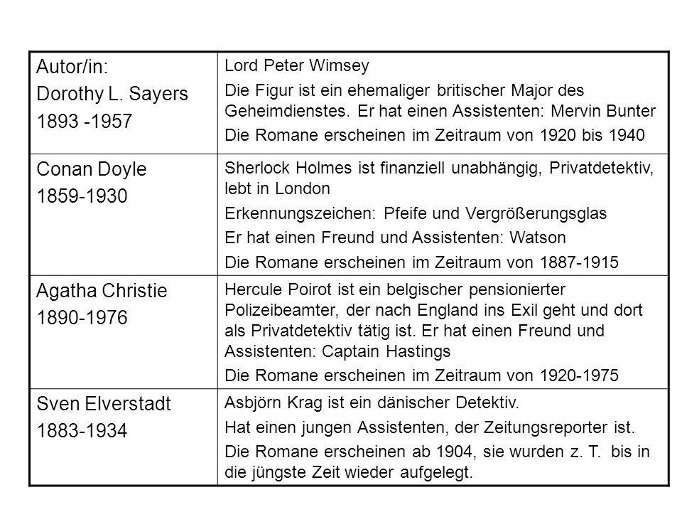 Autor/in: Dorothy L. Sayers 1893 -1957 Lord Peter Wimsey Die Figur ist ein ehemaliger britischer Major des Geheimdienstes. Er hat einen Assistenten: M