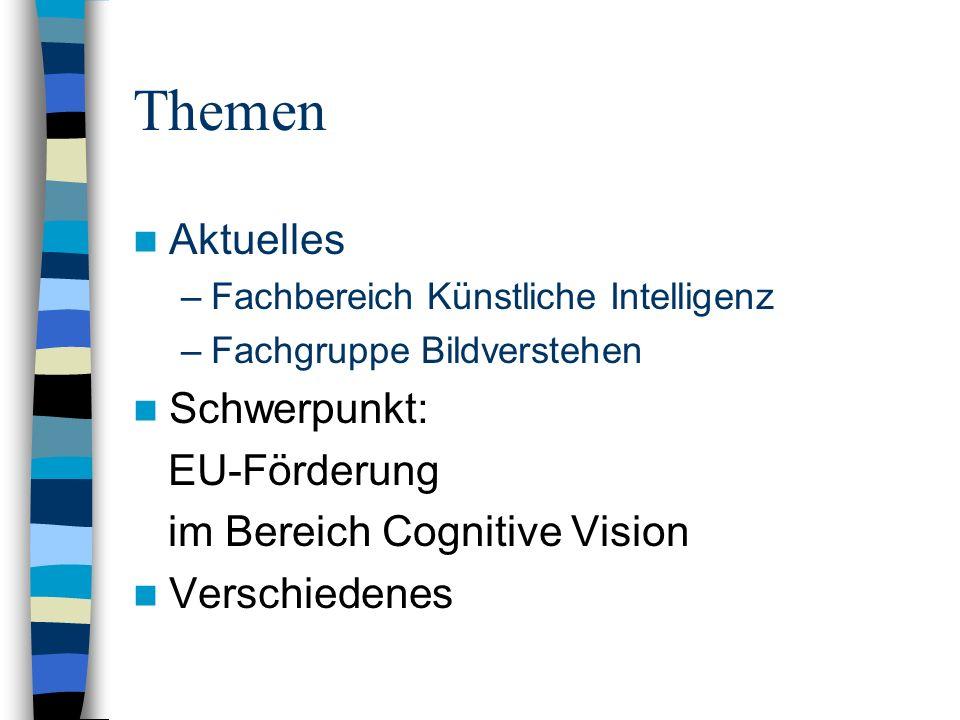 Themen Aktuelles –Fachbereich Künstliche Intelligenz –Fachgruppe Bildverstehen Schwerpunkt: EU-Förderung im Bereich Cognitive Vision Verschiedenes