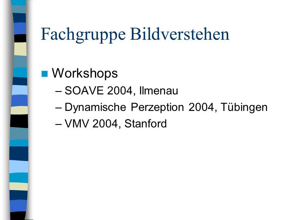 Fachgruppe Bildverstehen Workshops –SOAVE 2004, Ilmenau –Dynamische Perzeption 2004, Tübingen –VMV 2004, Stanford