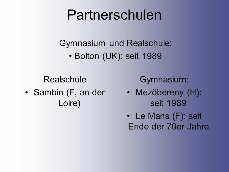 Partnerschulen Realschule Sambin (F, an der Loire) Gymnasium: Mezöbereny (H): seit 1989 Le Mans (F): seit Ende der 70er Jahre Gymnasium und Realschule: Bolton (UK): seit 1989
