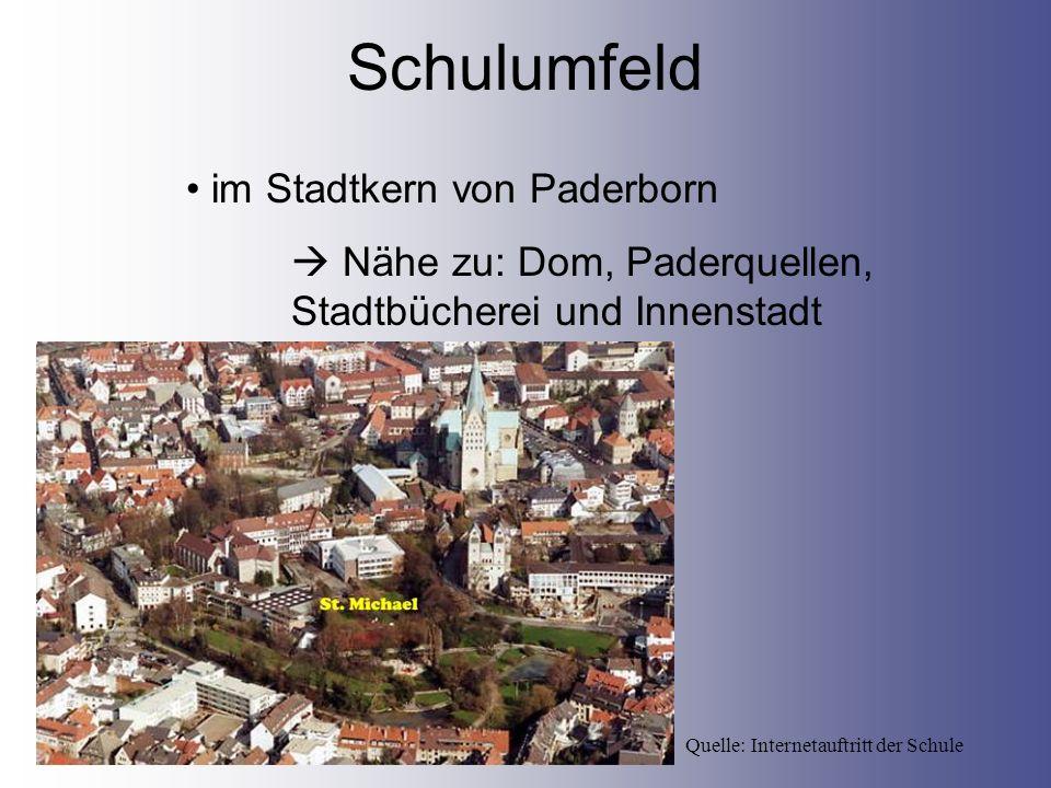 Schulumfeld Quelle: Internetauftritt der Schule im Stadtkern von Paderborn Nähe zu: Dom, Paderquellen, Stadtbücherei und Innenstadt