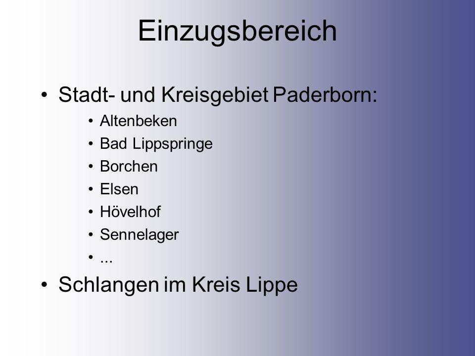 Einzugsbereich Stadt- und Kreisgebiet Paderborn: Altenbeken Bad Lippspringe Borchen Elsen Hövelhof Sennelager...
