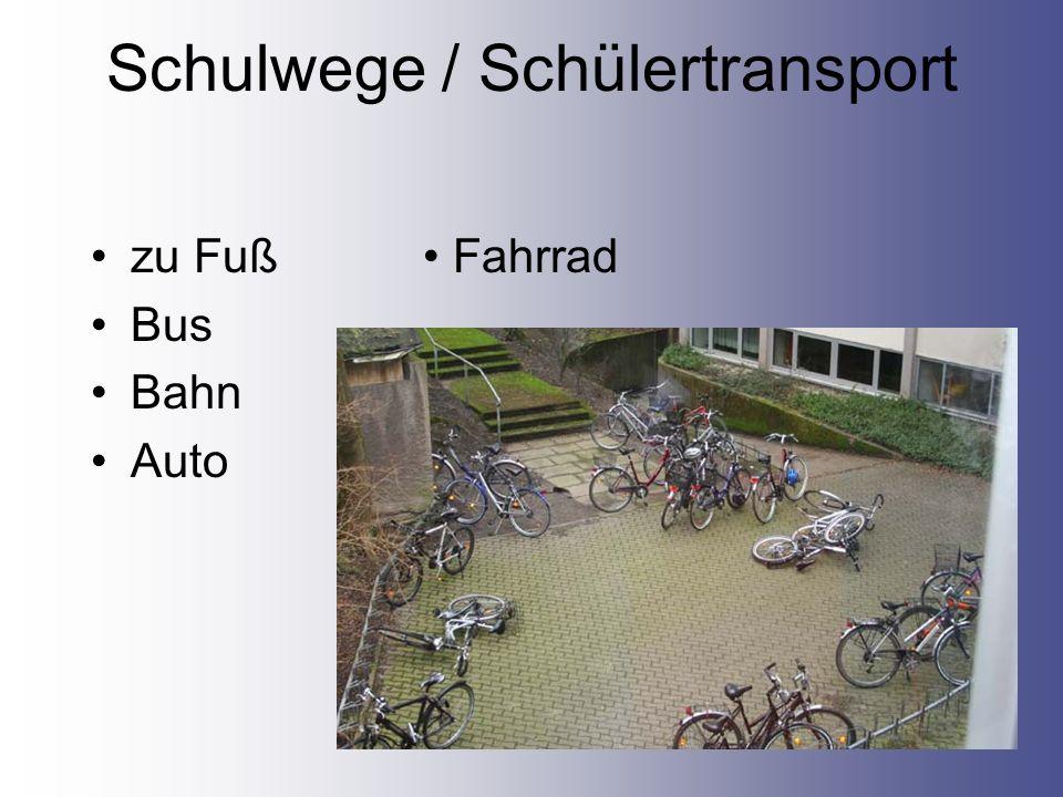 Schulwege / Schülertransport zu Fuß Fahrrad Bus Bahn Auto