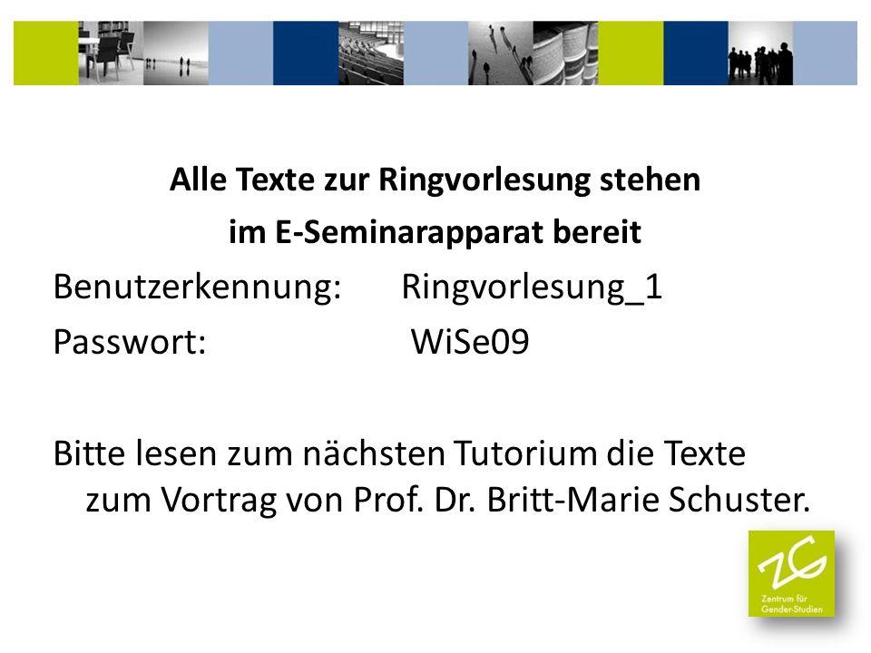 Alle Texte zur Ringvorlesung stehen im E-Seminarapparat bereit Benutzerkennung: Ringvorlesung_1 Passwort: WiSe09 Bitte lesen zum nächsten Tutorium die