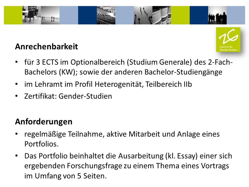 Anrechenbarkeit für 3 ECTS im Optionalbereich (Studium Generale) des 2-Fach- Bachelors (KW); sowie der anderen Bachelor-Studiengänge im Lehramt im Pro