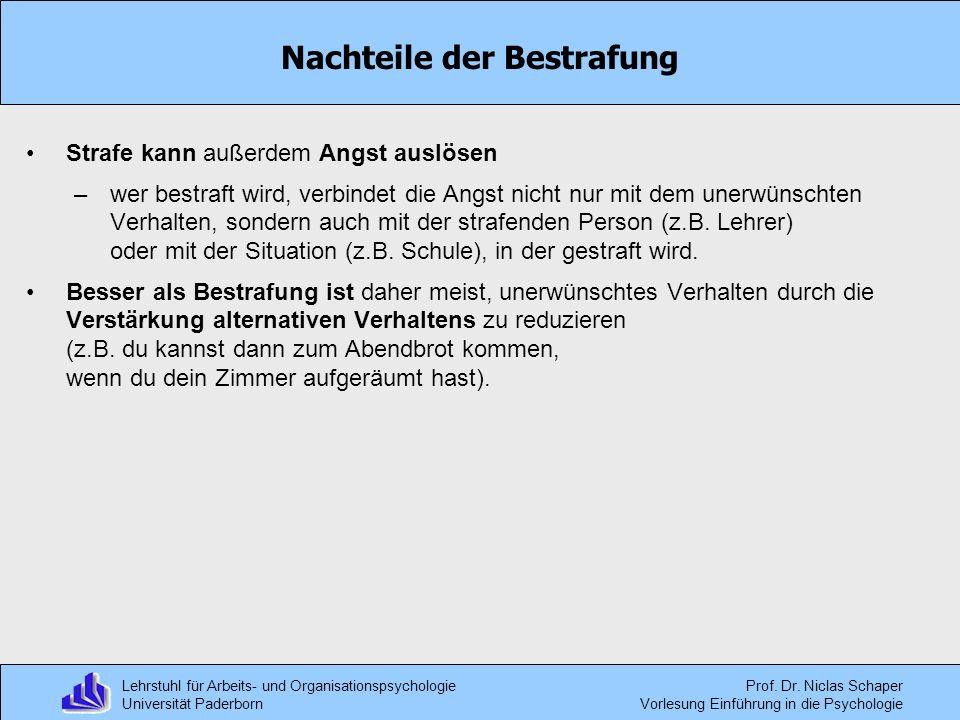 Lehrstuhl für Arbeits- und Organisationspsychologie Universität Paderborn Prof. Dr. Niclas Schaper Vorlesung Einführung in die Psychologie Nachteile d