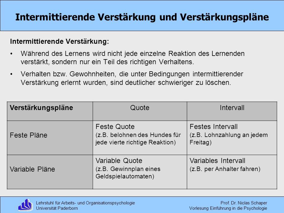 Lehrstuhl für Arbeits- und Organisationspsychologie Universität Paderborn Prof. Dr. Niclas Schaper Vorlesung Einführung in die Psychologie Intermittie