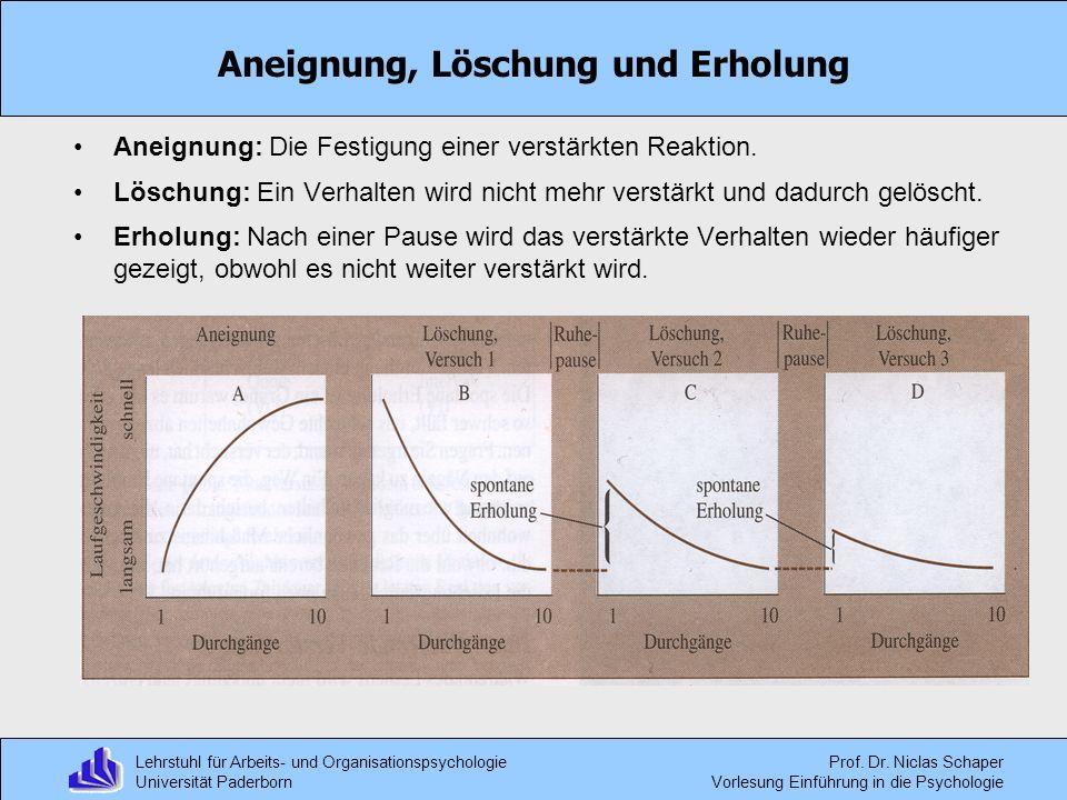 Lehrstuhl für Arbeits- und Organisationspsychologie Universität Paderborn Prof. Dr. Niclas Schaper Vorlesung Einführung in die Psychologie Aneignung,