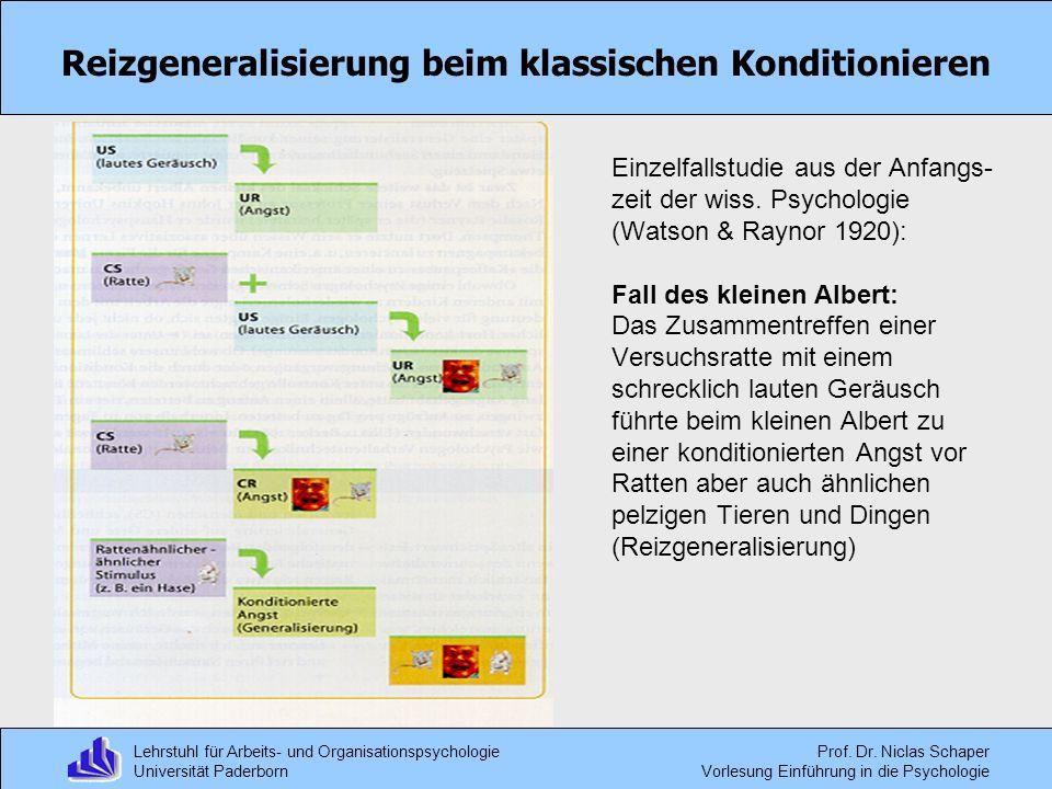 Lehrstuhl für Arbeits- und Organisationspsychologie Universität Paderborn Prof. Dr. Niclas Schaper Vorlesung Einführung in die Psychologie Reizgeneral