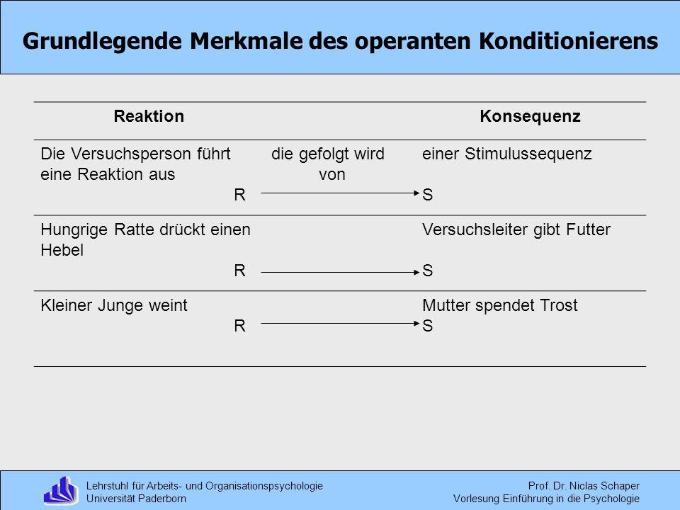 Lehrstuhl für Arbeits- und Organisationspsychologie Universität Paderborn Prof. Dr. Niclas Schaper Vorlesung Einführung in die Psychologie Grundlegend