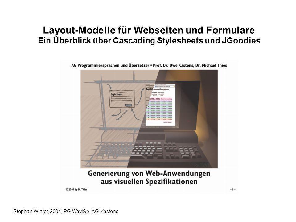 1 / 10 Cascading Stylesheets (CSS) Einfache Markup-Sprache, um das Aussehen einer HTML/XML-Datei zu beeinflussen Browser- / Plattform- / Geräteunabhängig, dennoch unterscheidet sich teilweise die graphische Ausgabe Entwickelt 1996 als CSS Level1, 1998 erweitert zu CSS2, Bugfixing in Version 2.1; Version 3 ist in Arbeit Enthält Modelle zur Positionierung, die Tabellen überflüssig machen (Box-Model) CSS2