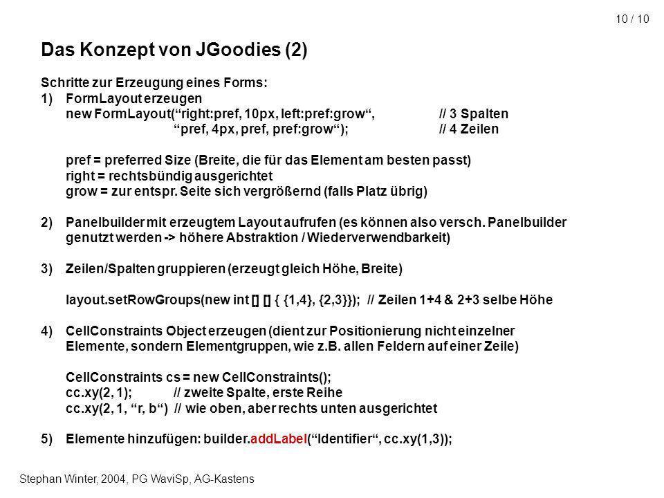 Stephan Winter, 2004, PG WaviSp, AG-Kastens 10 / 10 Das Konzept von JGoodies (2) Schritte zur Erzeugung eines Forms: 1)FormLayout erzeugen new FormLayout(right:pref, 10px, left:pref:grow,// 3 Spalten pref, 4px, pref, pref:grow);// 4 Zeilen pref = preferred Size (Breite, die für das Element am besten passt) right = rechtsbündig ausgerichtet grow = zur entspr.