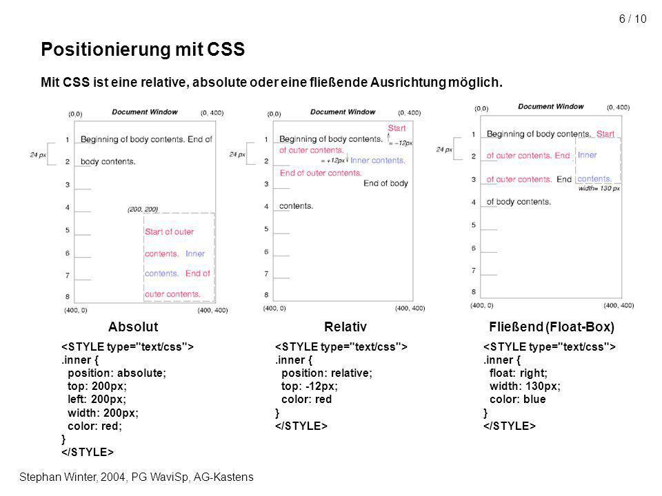 Stephan Winter, 2004, PG WaviSp, AG-Kastens 6 / 10 Positionierung mit CSS Mit CSS ist eine relative, absolute oder eine fließende Ausrichtung möglich.