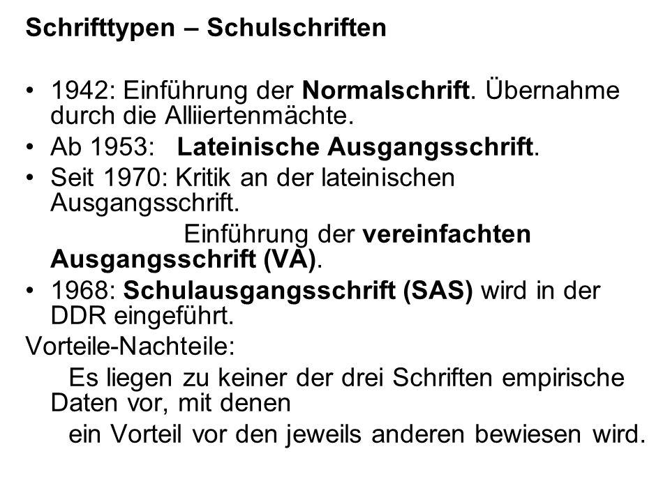 Schrifttypen – Schulschriften 1942: Einführung der Normalschrift. Übernahme durch die Alliiertenmächte. Ab 1953: Lateinische Ausgangsschrift. Seit 197