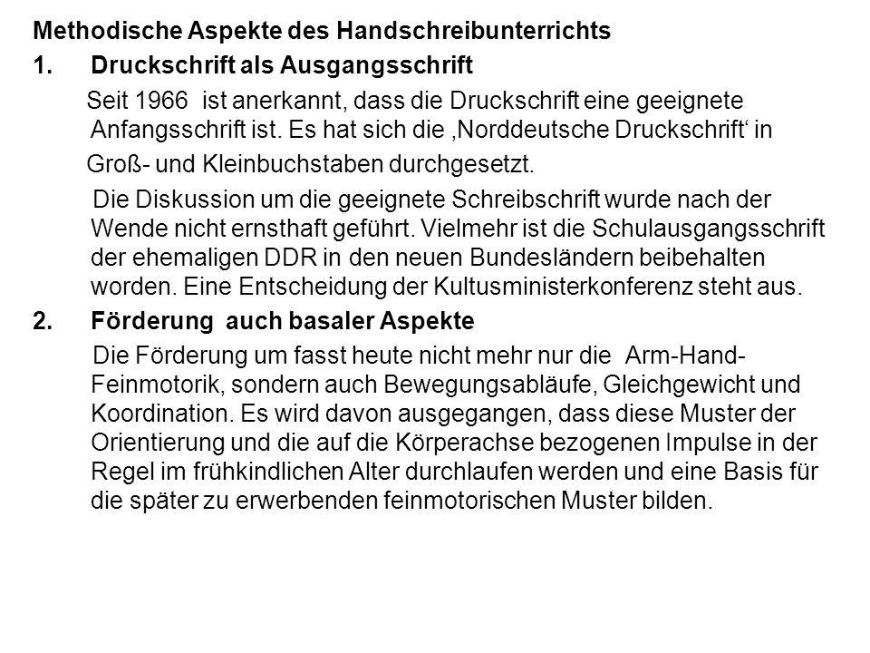 Methodische Aspekte des Handschreibunterrichts 1.Druckschrift als Ausgangsschrift Seit 1966 ist anerkannt, dass die Druckschrift eine geeignete Anfang