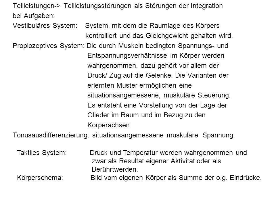 Teilleistungen-> Teilleistungsstörungen als Störungen der Integration bei Aufgaben: Vestibuläres System: System, mit dem die Raumlage des Körpers kont