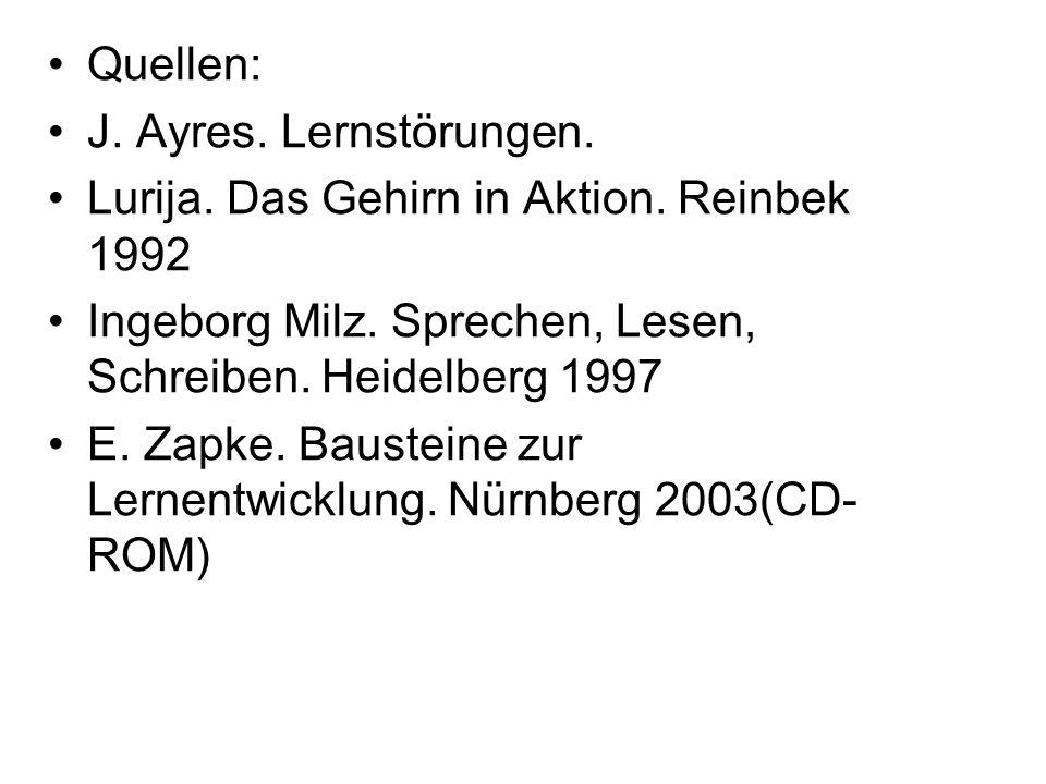 Quellen: J. Ayres. Lernstörungen. Lurija. Das Gehirn in Aktion. Reinbek 1992 Ingeborg Milz. Sprechen, Lesen, Schreiben. Heidelberg 1997 E. Zapke. Baus