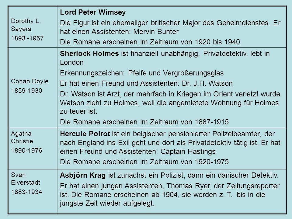 Dorothy L. Sayers 1893 -1957 Lord Peter Wimsey Die Figur ist ein ehemaliger britischer Major des Geheimdienstes. Er hat einen Assistenten: Mervin Bunt
