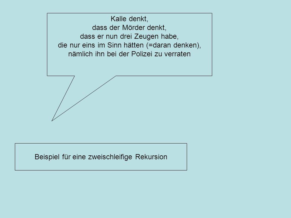 Kalle denkt, dass der Mörder denkt, dass er nun drei Zeugen habe, die nur eins im Sinn hätten (=daran denken), nämlich ihn bei der Polizei zu verraten