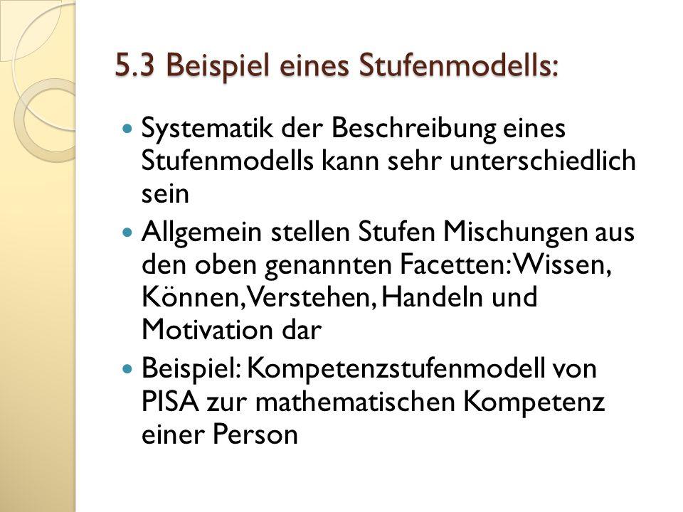 5.3 Beispiel eines Stufenmodells: Systematik der Beschreibung eines Stufenmodells kann sehr unterschiedlich sein Allgemein stellen Stufen Mischungen a