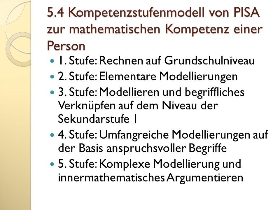 5.4 Kompetenzstufenmodell von PISA zur mathematischen Kompetenz einer Person 1. Stufe: Rechnen auf Grundschulniveau 2. Stufe: Elementare Modellierunge