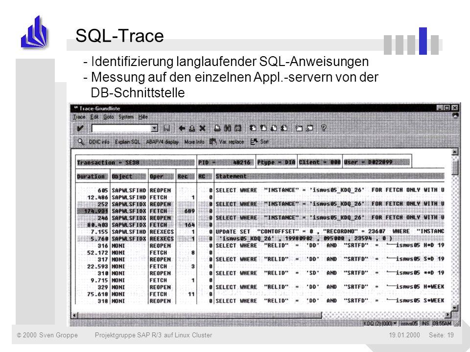 © 2000 Sven Groppe19.01.2000Projektgruppe SAP R/3 auf Linux ClusterSeite: 19 SQL-Trace - Identifizierung langlaufender SQL-Anweisungen - Messung auf d